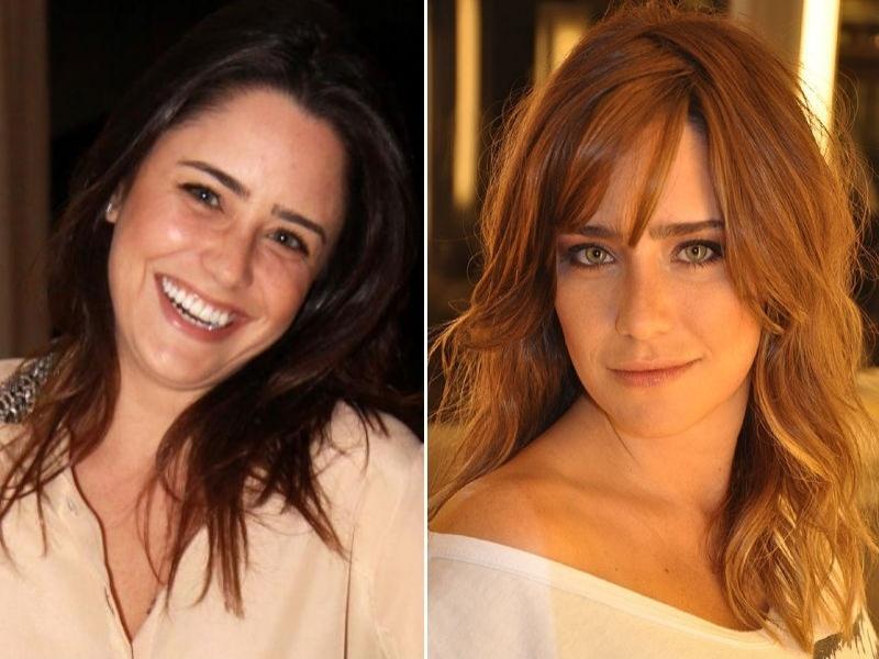 Fernanda Vasconcellos loira com franja cabelo castanho claro