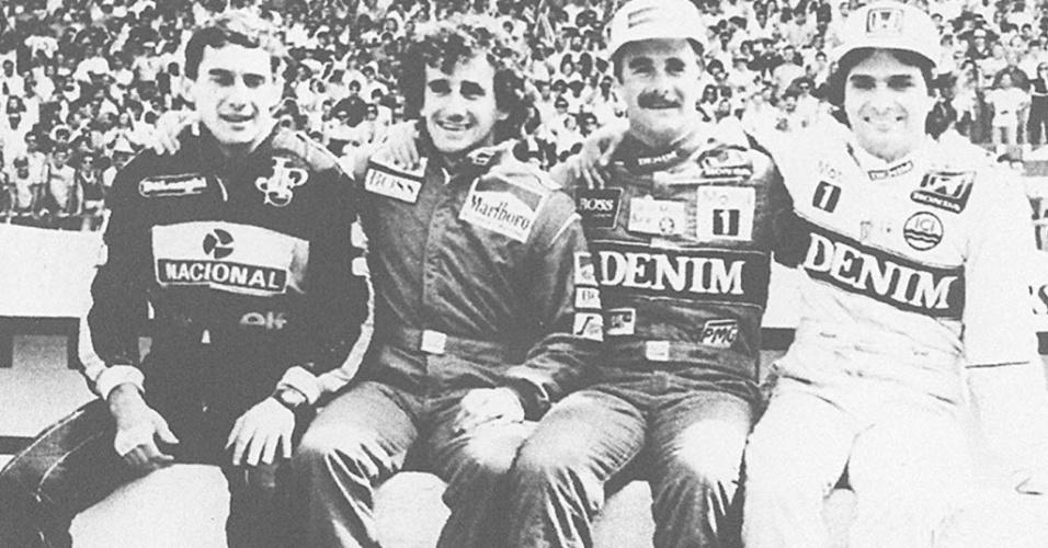 Senna, Prost, Mansell e Piquet, a elite da F-1 no final dos anos 80