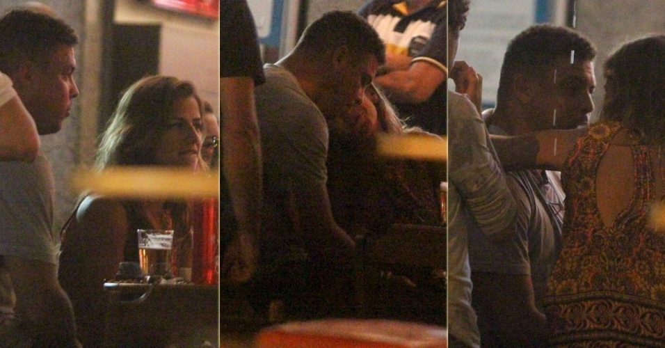 17.jan.2013 - Ronaldo Fenmeno troca carcias com a DJ Paula Morais em bar da Barra da Tijuca, Rio de Janeiro. O jogador anunciou sua separao de Bia Antony no final de dezembro do ano passado