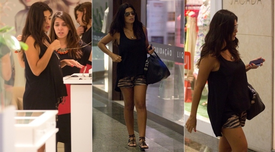 18.jan.2013 - Grvida, Juliana Paes circulou por um shopping da zona oeste do Rio. A atriz  casada com Carlos Eduardo Baptista e j  me de Pedro