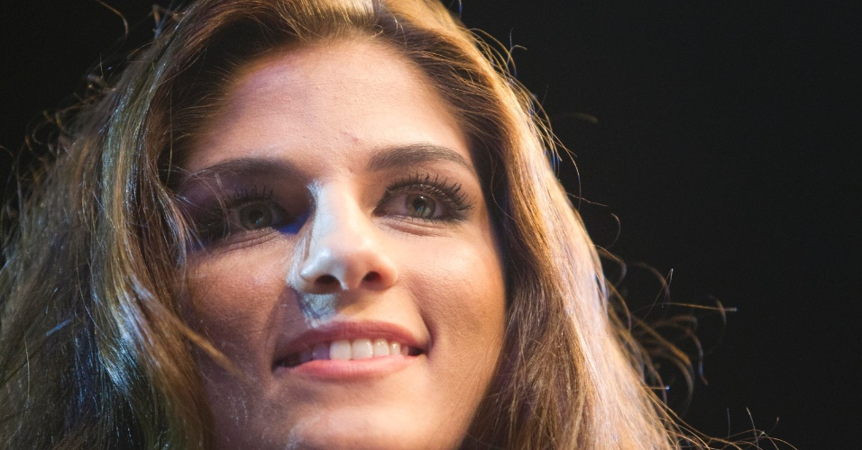 19.jan.2013 - Detalhe do rosto de uma das ring girls brasileiras do UFC São Paulo
