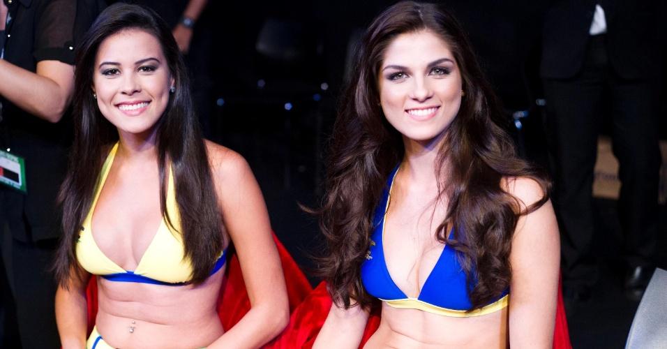 19.jan.2013 - Ring girls brasileiras participaram do primeiro UFC da carreira no ginásio do Ibirapuera