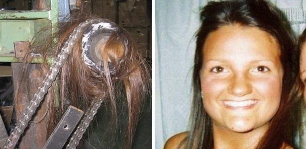 À esquerda, o cabelo de Kelly Nield preso na máquina. À direita, Kelly antes do acidente