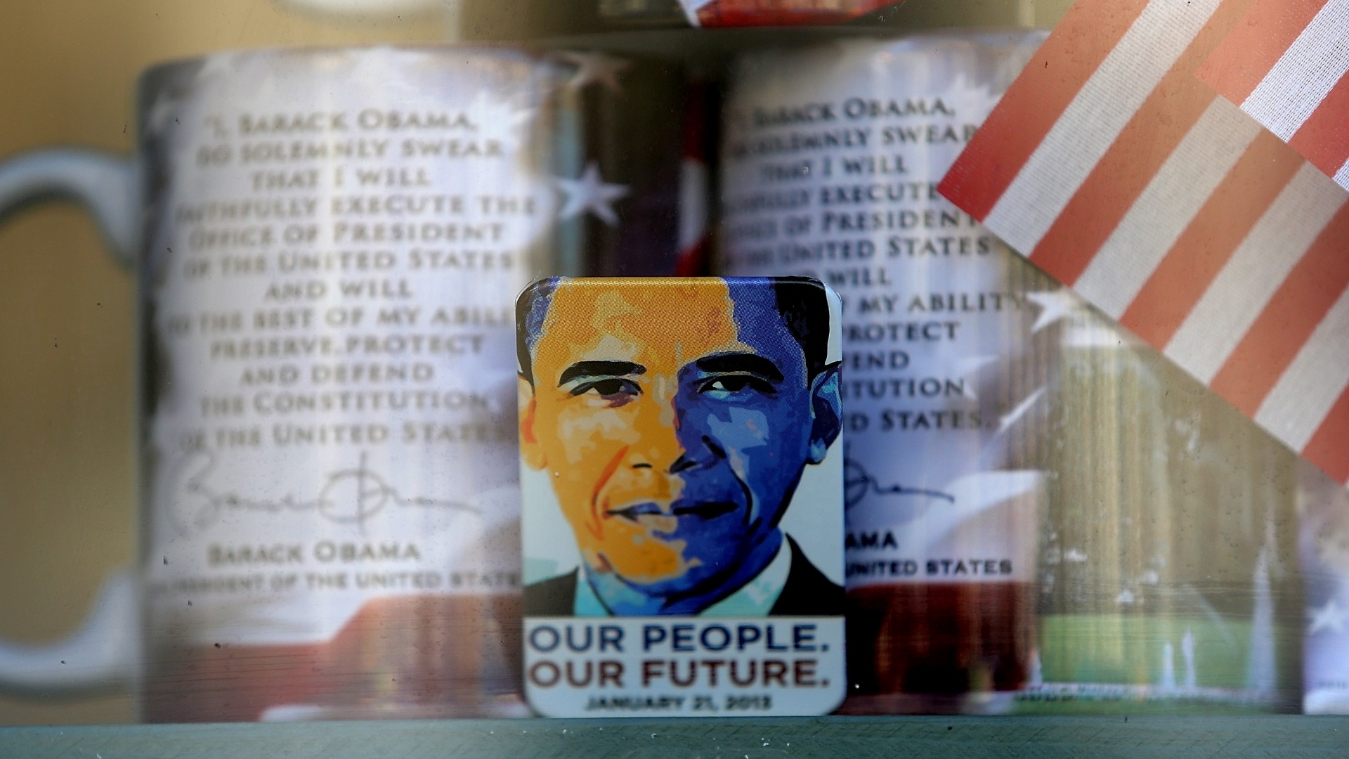 Loja em Washington D.C, nos Estados Unidos, expõe souvenirs do presidente Barack Obama