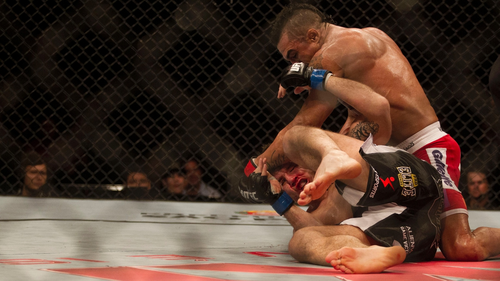 19.jan.2013 - Brasileiro Vitor Belfort castiga o britnico Michael Bisping aps atingi-lo com um chute