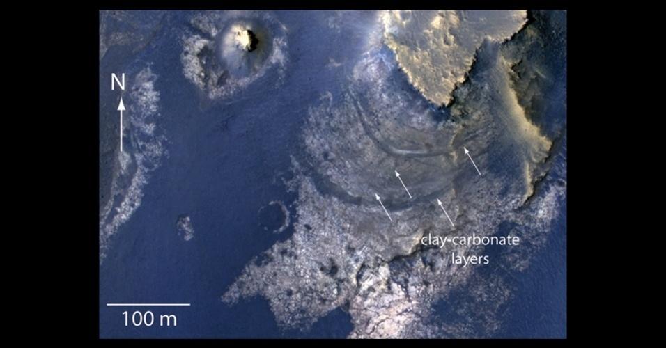 A nave MRO, da Nasa (Agência Espacial Norte-Americana), encontrou vestígios de argila e carbonato, minerais geralmente formados pela interação com a água, a mais de dois quilômetros de profundidade na cratera McLaughlin, em Marte. Os cientistas afirmam que esta evidência reforça a teoria de que o planeta vermelho pode ter abrigado vida antigamente