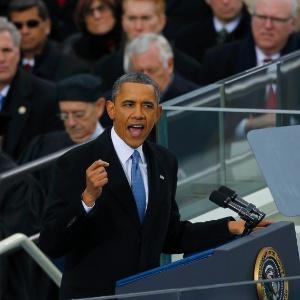 21.jan.2013 - O presidente norte-americano, Barack Obama, discursa na cerimônia pública de posse, em Washington. Ele inicia hoje seu segundo mandato