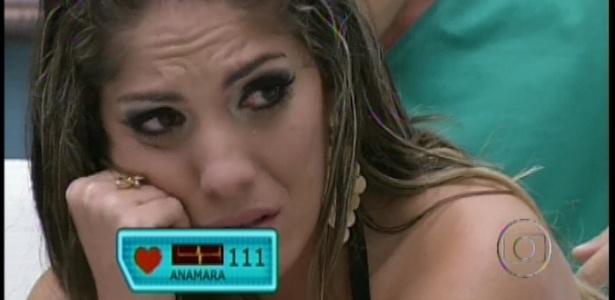22.jan.2013 - Anamara estava preocupada com o paredão e chorou quando viu a família
