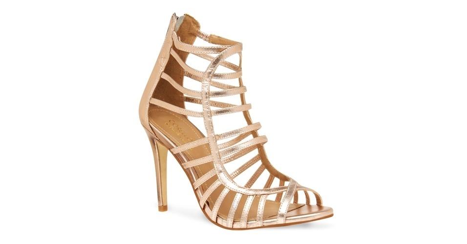 Sandálias de Salto Gladiadora Sandália Gladiadora Dourada