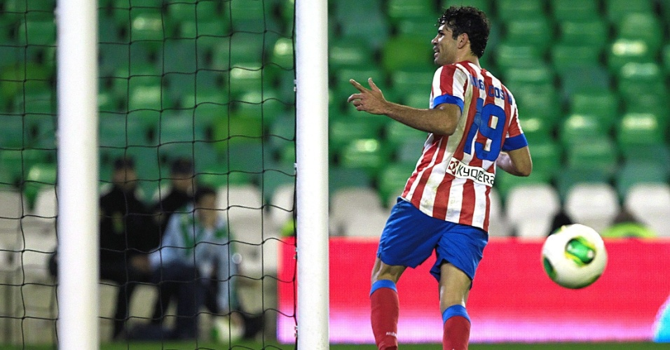 24.jan.2013 - Brasileiro Diego Costa comemora gol do Atlético de Madri contra o Betis, pelas quartas de final da Copa do Rei