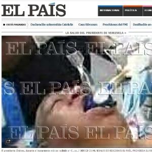 """Falsa imagem de Chávez entubado foi divulgada com destaque na versão online do jornal """"El País"""""""