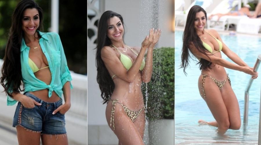 """25.jan.2013 - Kelly Baron, ex-participante da Casa de Vidro do """"BBB13"""", fez ensaio para uma revista em um hotel da zona sul do Rio"""