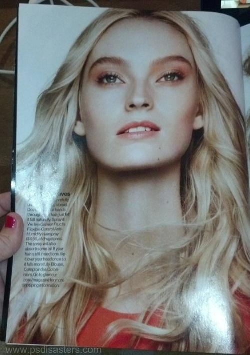 Cabelos longos e sedosos são o sonho de muitas mulheres. Mas a revista Glamour acabou exagerando tanto no Photoshop para deixar os fios mais compridos que a modelo ganhou um pescoço com jeitão de ''girafa''