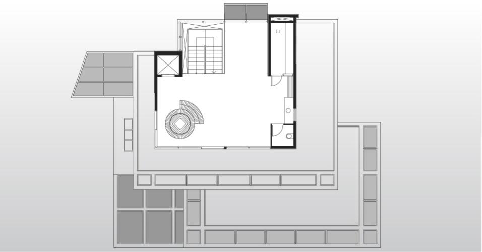 No pavimento denominado mirante, sala de ginástica, spa e sauna. A casa AM tem projeto do escritório Drucker Arquitetos Associados