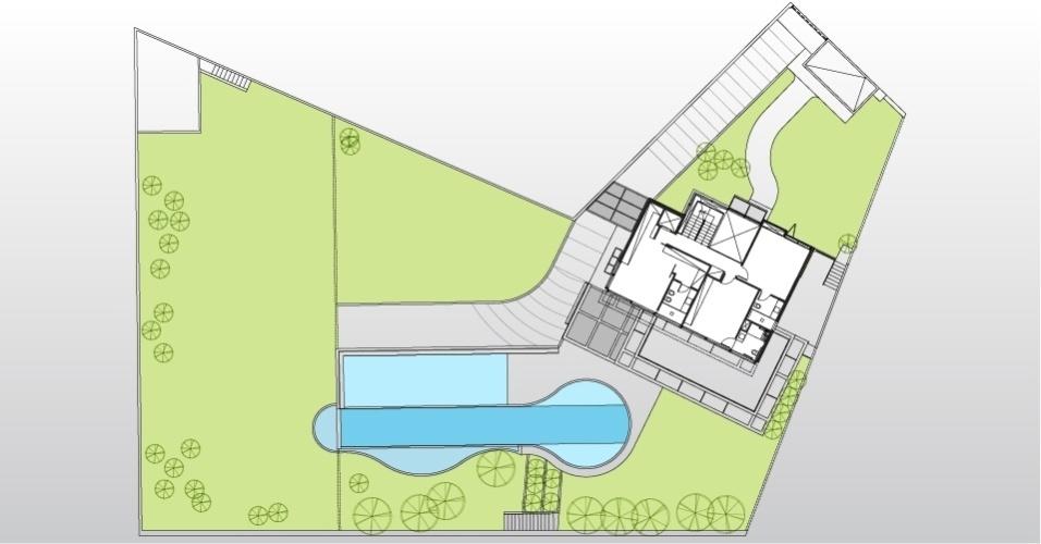No pavimento superior da casa AM, desenhada por Monica Drucker, estão as suítes. Esta é a área mais íntima da residência
