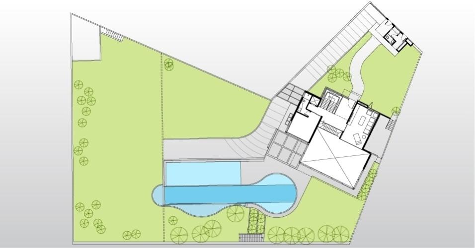 Planta representa o pavimento térreo da casa AM, desenhada por Monica Drucker. À direita está o amplo living com pé-direito de cinco metros