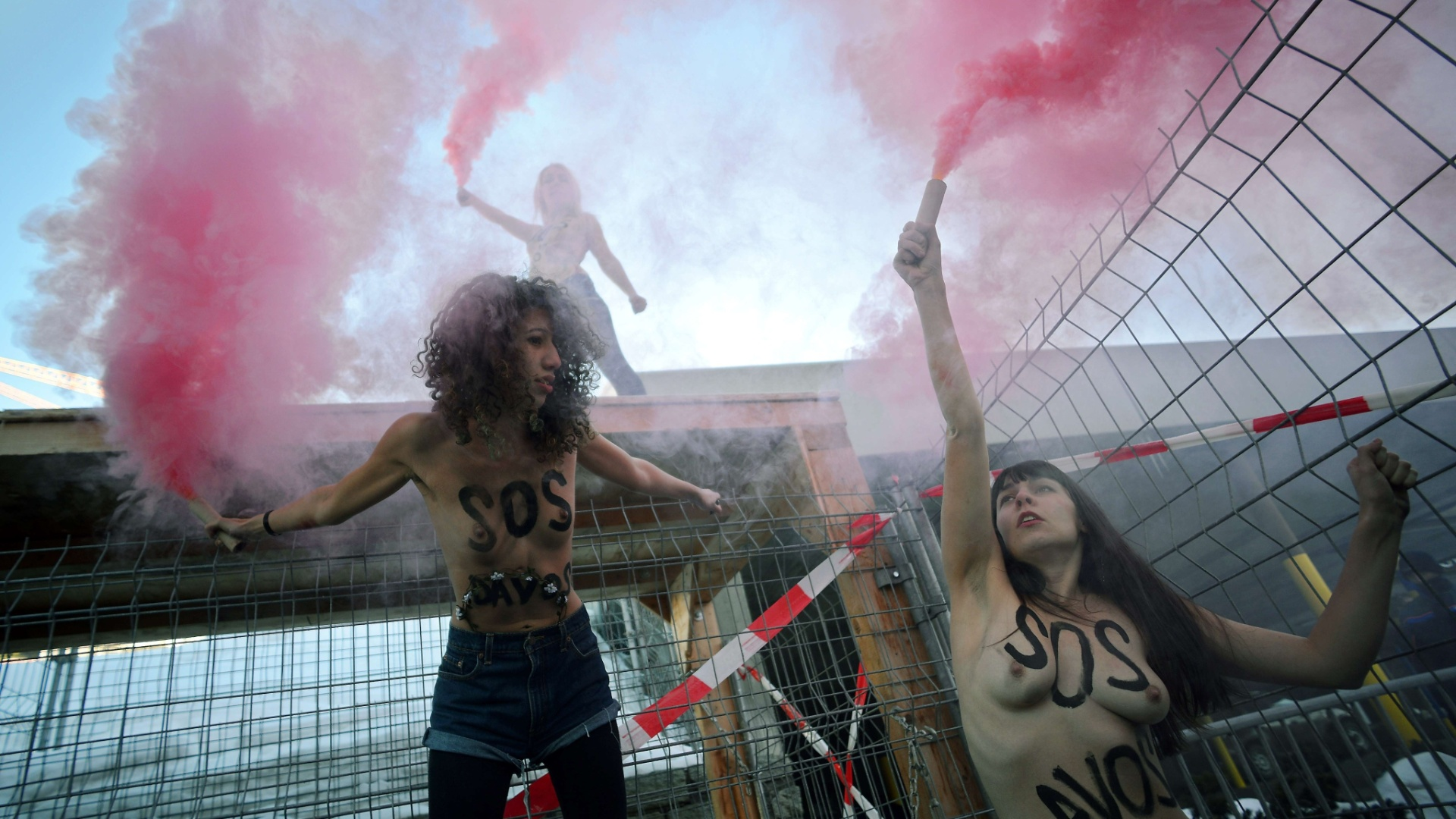 26.jan.2013 - Ativistas do Femen protestam em Davos, na Sua