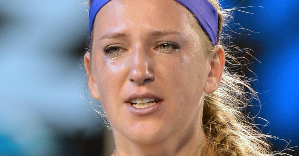26.jan.2013 - Victoria Azarenka não segura as lágrimas ao conquistar o bicampeonato do Aberto da Austrália em final contra a chinesa Na Li