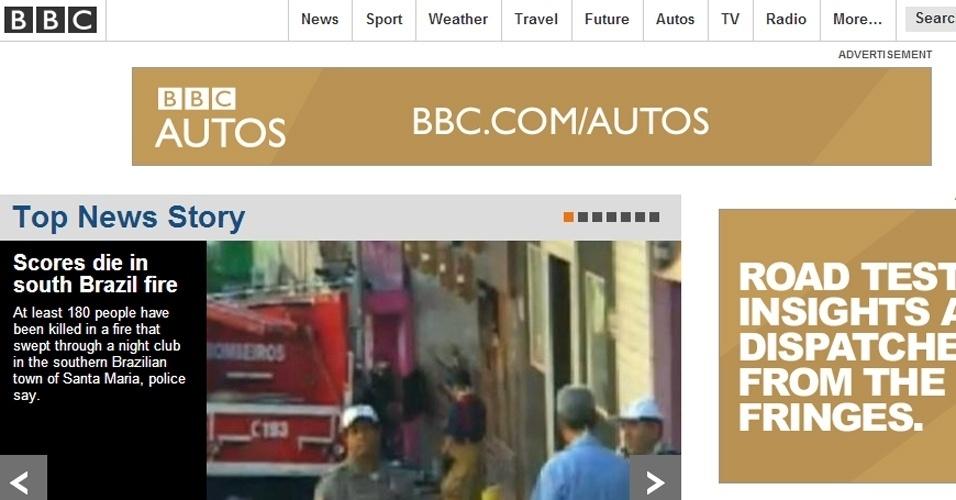 """27.jan.2013 - A página internacional da BBC colocou a tragédia no Rio Grande do Sul como sua principal """"top story"""""""