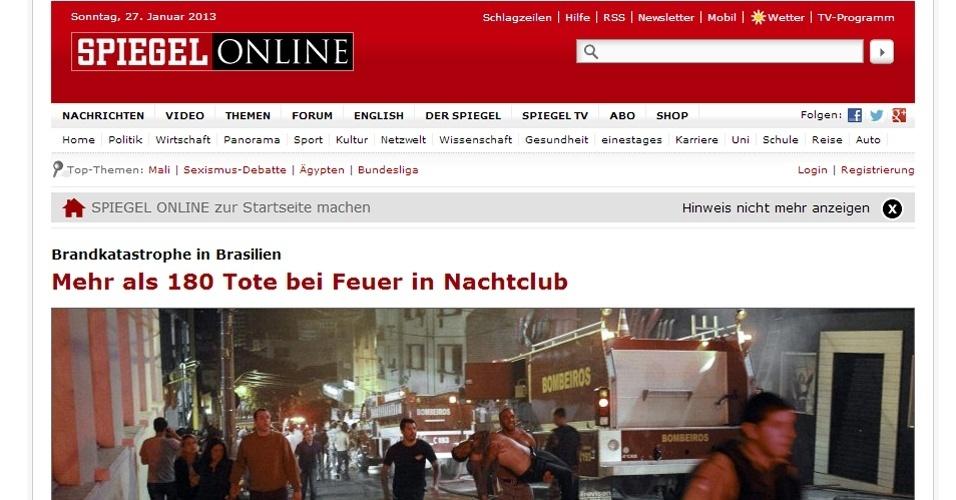 27.jan.2013 -  A versão online da revista alemã Der Spiegel concedeu todo o alto de sua página principal
