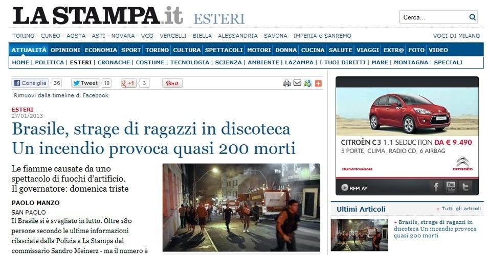 """27.jan.2013 -  O diário italiano """"La Stampa"""" destacou a tragédia gaúcha em sua página de Internet"""
