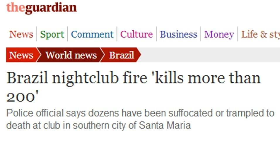 """27.jan.2013 - O jornal britânico """"The Guardian"""" destacou a tragédia gaúcha em sua página digital"""