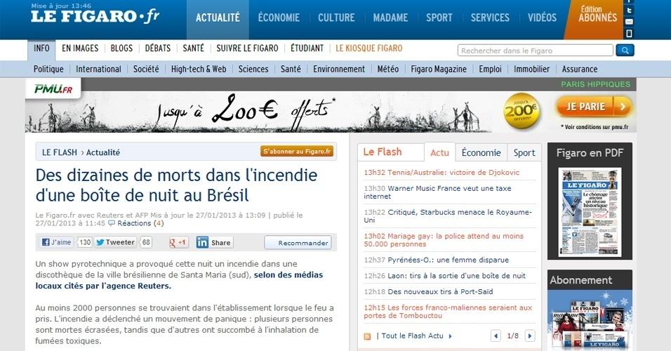 """27.jan.2013 - O jornal francês """"Le Figaro"""" também destacou a tragédia em boate de Santa Maria (RS)"""