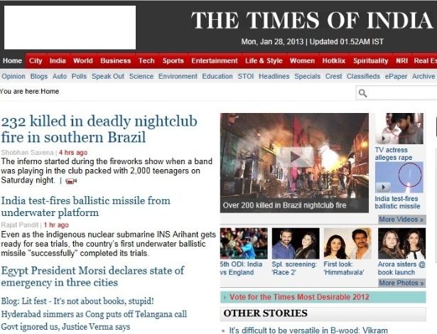 """27.jan.2013 - O jornal indiano """"The Times of India"""" colocou a tragédia brasileira na manchete de sua página na internet"""