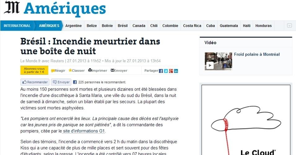 """27.jan.2013 - O jornal """"Le Monde"""", da França, noticiou o incêndio em Santa Maria em seu site destinado para as Américas"""