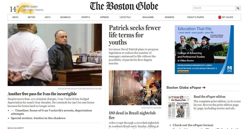 """27.jan.2013 -   O jornal """"The Boston Globe"""", dos Estados Unidos, destacou em sua página na internet o incêndio em Santa Maria"""