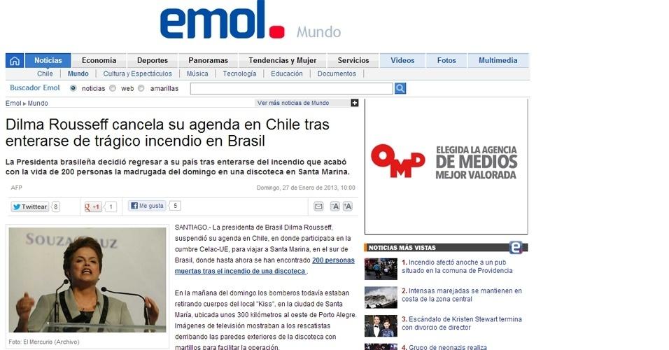 """27.jan.2013 - O portal ligado ao jornal chileno """"El Mercúrio"""" destacou que Dilma Rousseff que estava em Santiago e cancelou sua agenda por lá"""