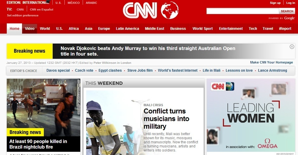 "27.jan.2013 - O site do canal de notícias norte-americano CNN destacou entre suas ""breaking news"" as mortes no polo universitário gaúcho"
