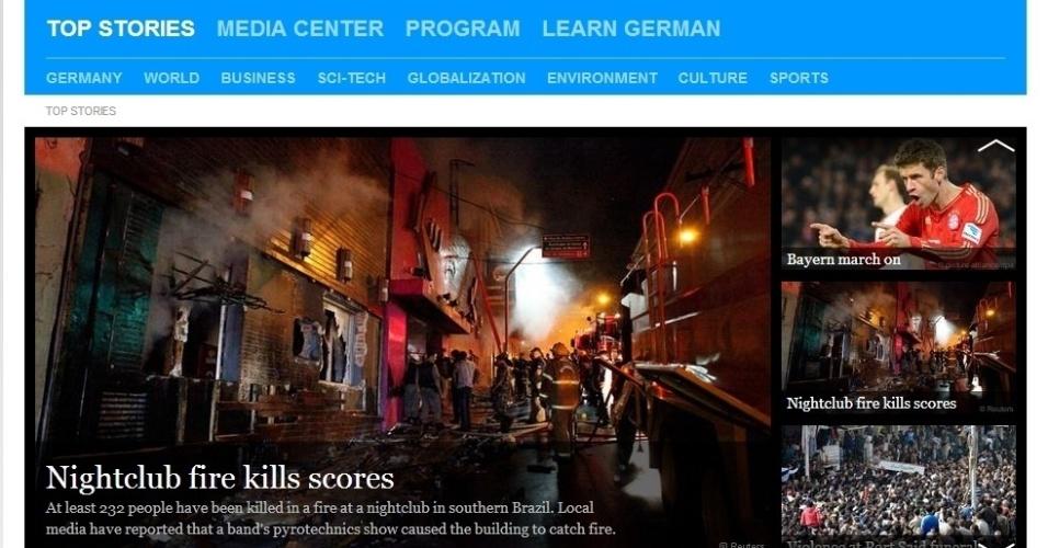 """27.jan.2013 - O site do jornal alemão """"Deutsche Welle"""" deu destaque a uma foto da fachada da boate Kiss, após o incêndio que matou mais de 230 pessoas"""
