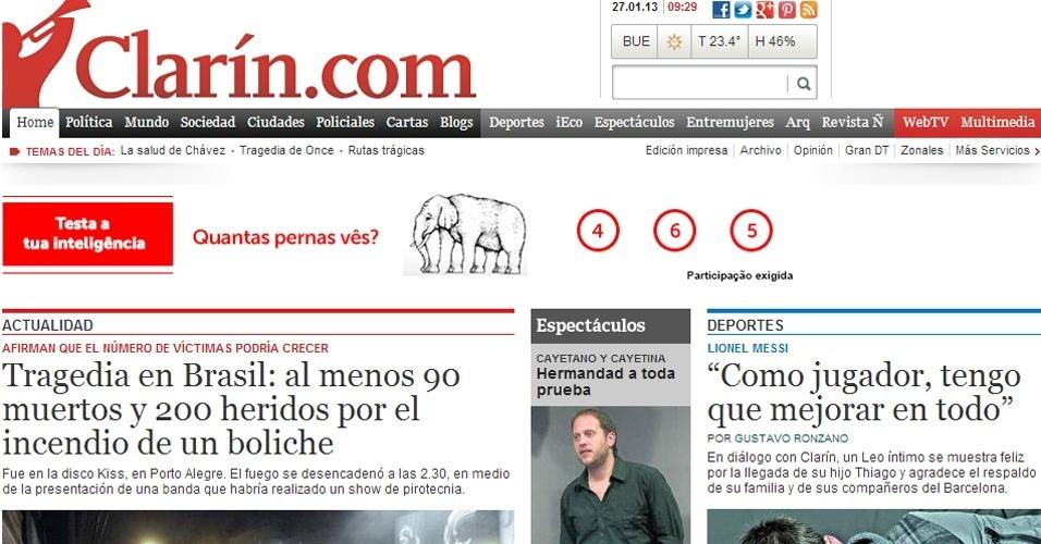 """27.jan.2013 - O site do jornal argentino """"Clarín"""" deu manchete para o incêndio em Santa Maria (RS) e lembrou de tragédia similar em Buenos Aires em 2004, quando 194 pessoas morrem na casa noturna Cromagnon"""