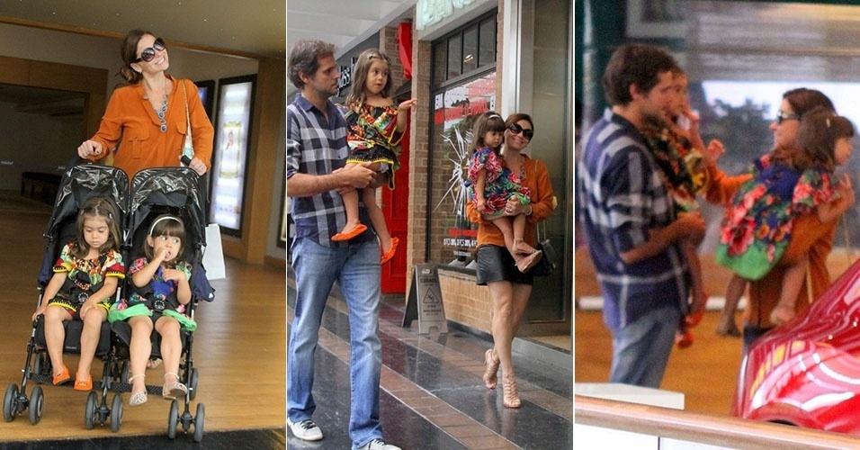27.jan.2013 - Sorridente, Giovanna Antonelli passeia com a família em shopping do Rio