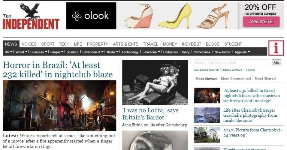 """O site do jornal britânico """"The Independent"""" também deu manchete para o incêndio e o classificou como """"horror no Brasil"""""""