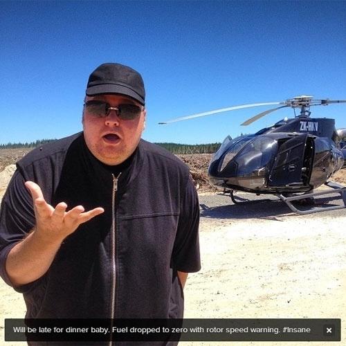 Kim Dotcom, fundador do site Megaupload, relatou em seu Twitter na noite de 27 de janeiro de 2013 uma aterrissagem forçada do helicóptero no qual viajava na Nova Zelândia. Bem-humorado, o alemão avisou à mulher, Mona, que chegaria tarde para jantar. O piloto fez um teste, e o helicóptero voltou a funcionar. Segundo Dotcom, foi encontrado um fio desconectado (fato que ele descreveu como 'estranho')