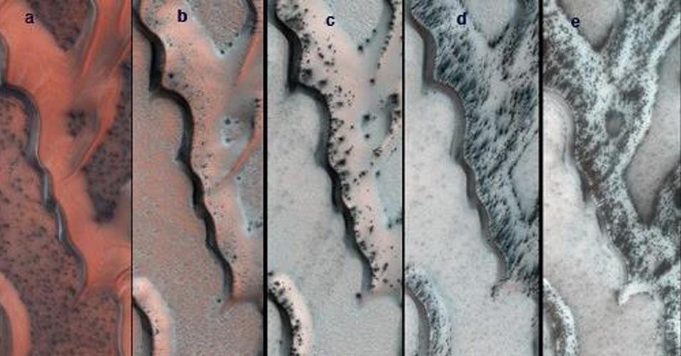 29.jan. 2013 - Câmera da Nasa do Experimento Científico de Imagens de Alta Resolução (HiRise) fez esta série com cores falsas de dunas de areia no polo norte de Marte