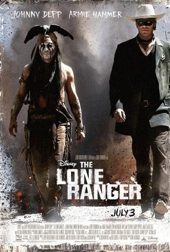 """Cartaz internacional de """"O Cavaleiro Solitário"""", de Gore Verbinski, com Johnny Depp como o índio Tonto e Armie Hammer como o personagem-título"""