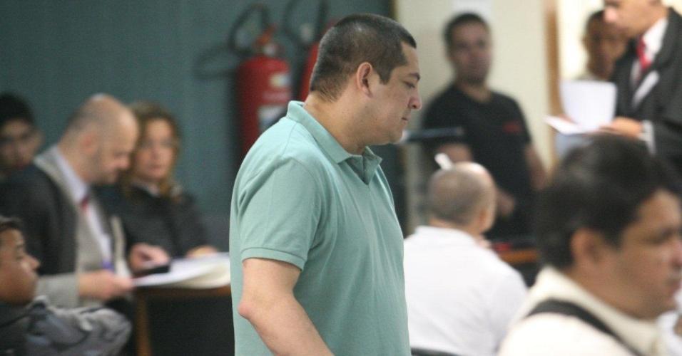 29.jan.2013- O cabo Sérgio Costa Junior, testemunha de acusação do caso Patrícia Acioli, é ouvido durante o julgamento dos três policiais militares acusados de matar a juíza, em agosto de 2011. Em um julgamento anterior, Costa foi condenado a 21 anos de prisão por participação no assassinato