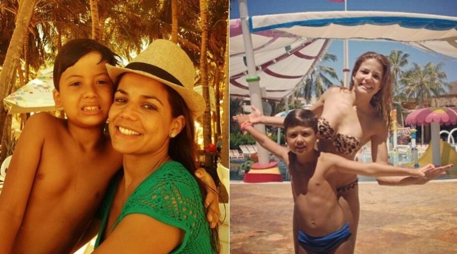 30.jan.2013 - Nívea Stelmann se divertiu em um parque aquático acompanhada do filho Miguel. O parque fica no Ceará