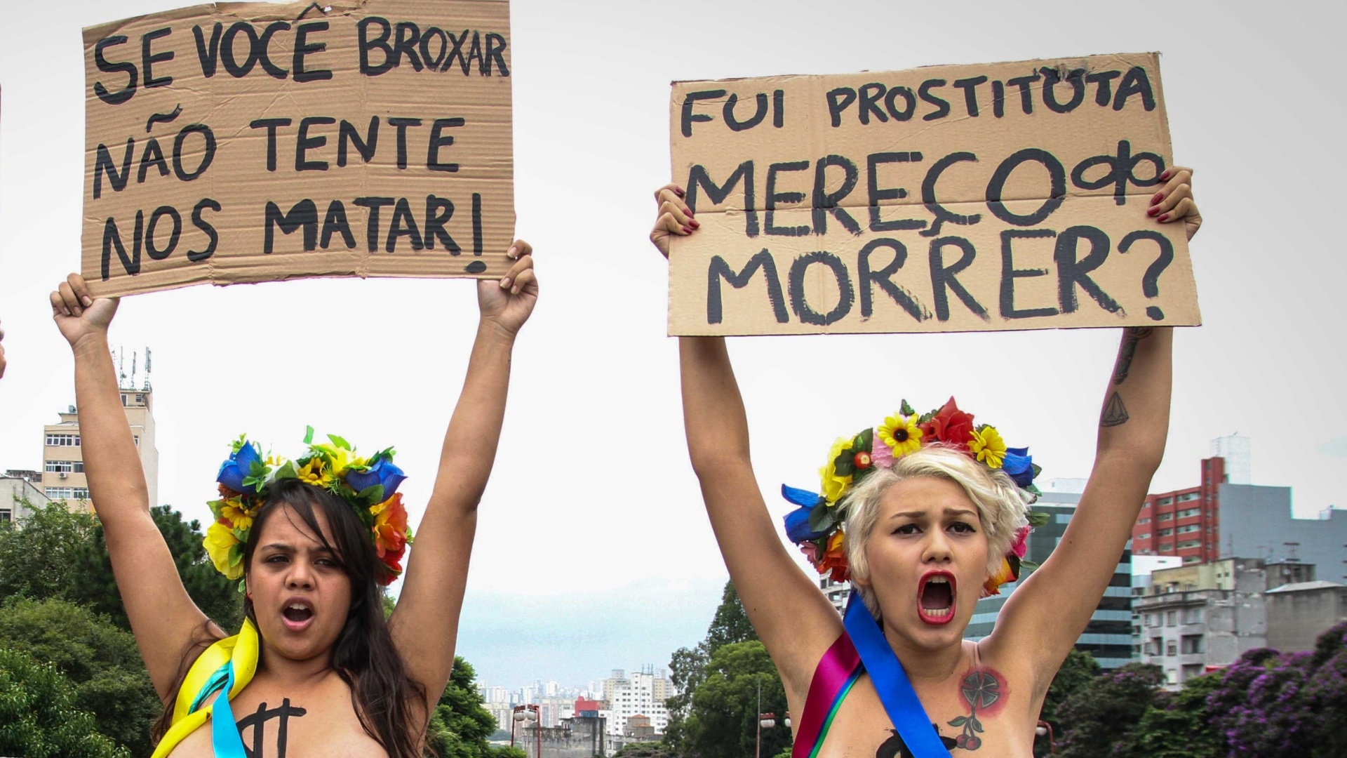 31.jan.2013 - Ativistas do grupo feminista Femen Brasil protestam no bairro da Liberdade, no centro de So Paulo, contra os assassinatos em srie ocorridos na zona leste da capital paulista. Eduardo Sebastio do Patrocnio, 42, foi preso dia 24 de janeiro sob suspeita de ter matado pelo menos cinco mulheres