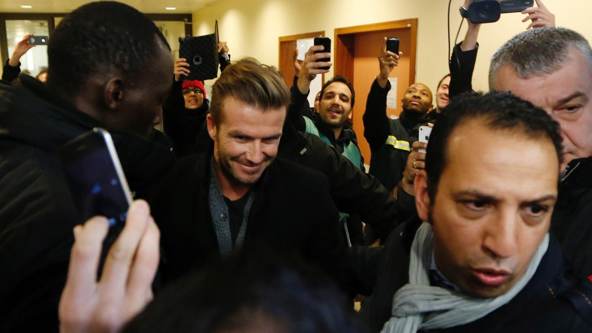 Beckham desembarcou na capital da França nesta quinta-feira