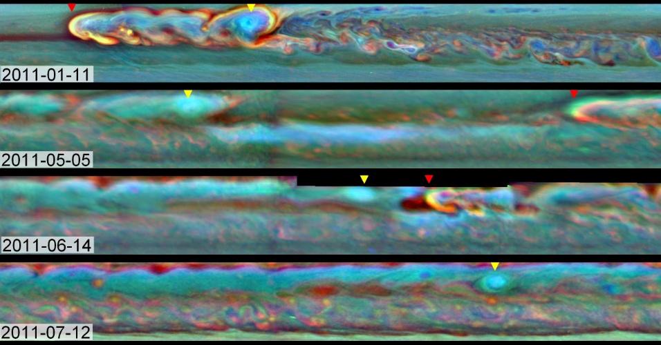 31.jan.2013 - Composição mostra ciclo de uma tempestade gigante de Saturno no hemisfério Norte do planeta