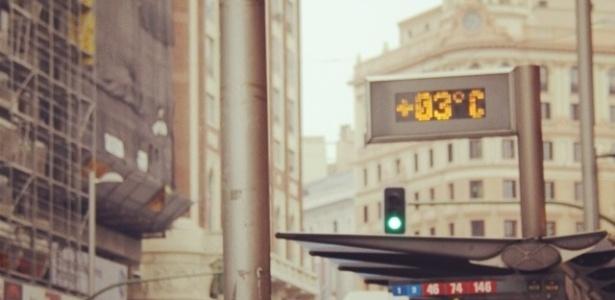 jan.2013 Foto mostrando a temperatura em Madrid tirada por Pe Lu da banda Restart durante suas férias na Europa