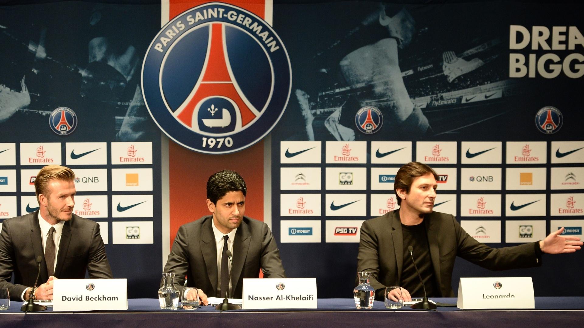 O presidente do PSG, Nasser Al-Khelaifi, e o diretor Leonardo recepcionaram Beckham no PSG
