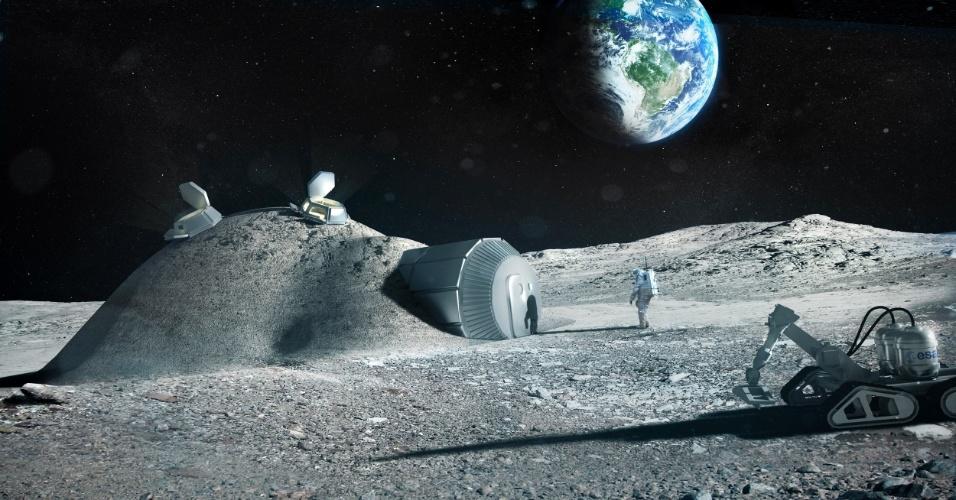 """1.fev.2013 - Uma impressora 3D pode facilitar a construção de uma futura base lunar a partir de materiais """"locais"""", como o solo e as rochas do satélite. Esta é a nova proposta da Agência Espacial Europeia (ESA, na sigla em inglês), que já tem como parceiro o escritório de arquitetura Foster + Partners, responsável pelos croquis (acima). Laurent Pambaguian, que lidera o projeto da ESA, explica que os módulos tubulares da base podem ser levados de foguete e inflados na chegada. Depois, a estrutura receberia uma camada de regolito (restos de materiais compactos e fragmentos de rochas e de solo que cobrem a Lua), para proteger os astronautas da radiação do espaço - o escudo seria construído pela técnica de impressão 3D e 'rebocado' por um robô"""