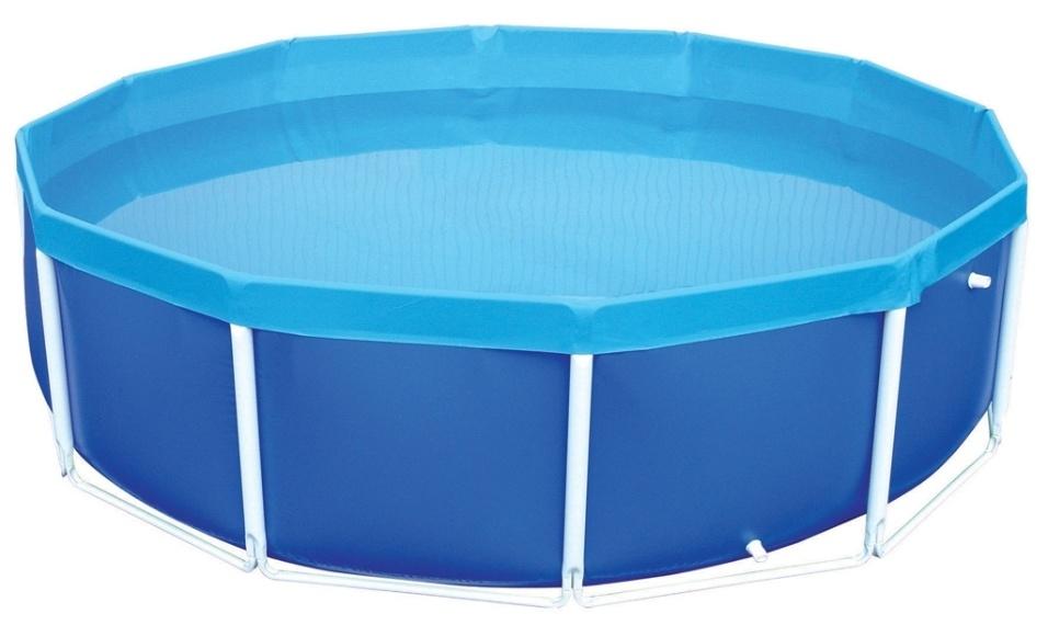 Essa piscina de armar redonda da Mor é fabricada em PVC e tem estrutura em aço com acabamento em pintura epóxi a pó branca. Com capacidade para 4.500 litros, é indicada para uso por adultos e conta com duas válvulas para deságue. À venda na Leroy Merlin (www.leroymerlin.com.br) por R$ 612,57 (preço válido para a loja Morumbi - SP)