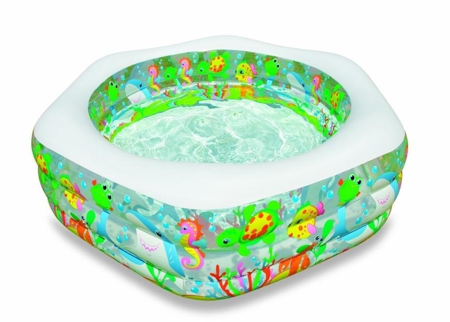 Opção econômica e colorida, essa piscina em PVC pneumático tem 541 litros de capacidade. Não acompanha bomba para inflar. Fabricada pela Intex, está à venda nas lojas Americanas (www.americanas.com) por R$ 116,92