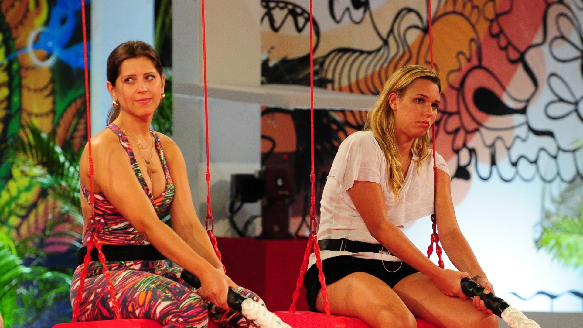 31.jan.2013 - Andressa e Marien participam da prova de resistência que vale a nova liderança no